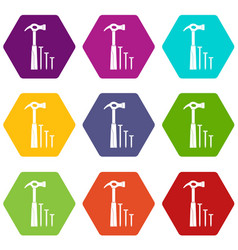 hammer and nails icon set color hexahedron vector image