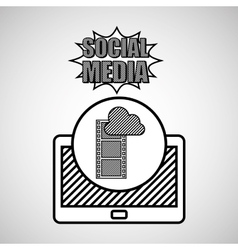 Hand drawing movie cloud social media mobile vector