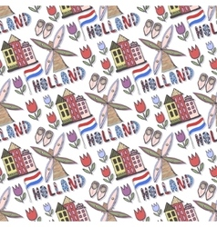 Hand drawn Holland seamless pattern with windmill vector image