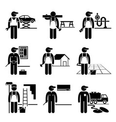 Handyman labor labour skilled jobs occupations vector