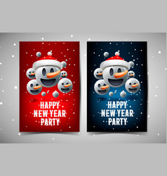 happy new year party poster background with group vector image