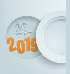 Happy new year with white paper circles background vector