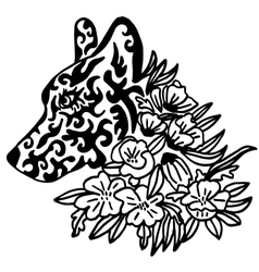 High quality original female wolf tattoo with vector image