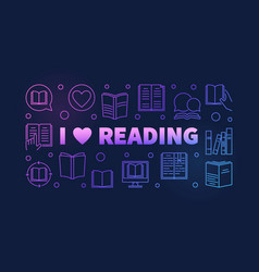 i love reading colored banner in outline vector image