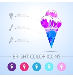ice-cream icon with infographic elements vector image