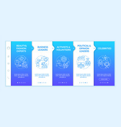 influencers types onboarding template vector image