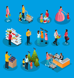 Isometric people on holiday shopping set vector