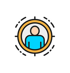 Man in target scope identity check flat color vector