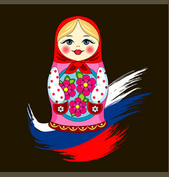 matryoshka russian doll russia flag vector image