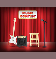 Music contest with microphone guitar on stage vector