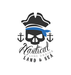 nautical logo design land and sea retro emblem vector image