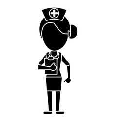 nurse work hospital clipboard pictogram vector image