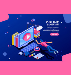 online tutorial web page template vector image