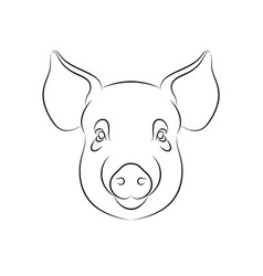 outline stylized pig portrait on white vector image