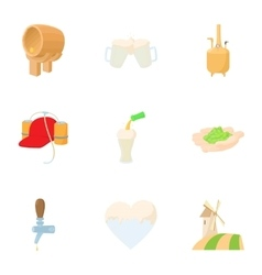 Preparation of beer icons set cartoon style vector image