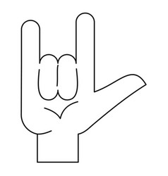 Rock gesture icon outline style vector