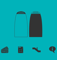 Salt and pepper shakers icon flat vector