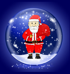 santa claus in a snow magic ball christmas symbol vector image