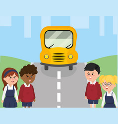 school bus in the street and children students vector image