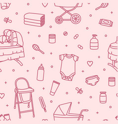 Seamless pattern with newborn baby care products vector