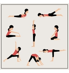 Set of asanas vector image