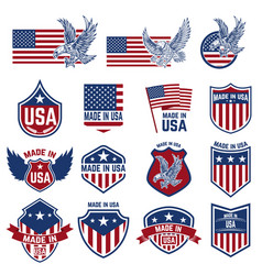 set of emblems with usa signs design elements for vector image