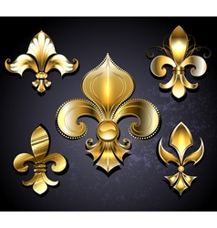 Set of Golden Fleur de Lis vector image