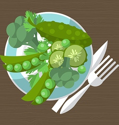 Set of green vegetables on a plate with a fork and vector image