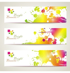 Set of three banners abstract headers with bright vector image