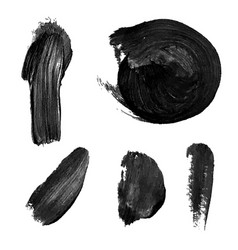 set with black abstract stain isolated on white vector image