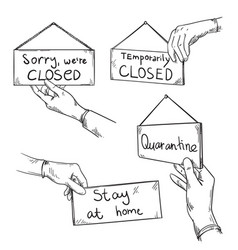 Sorry we are closed quarantine warning signs vector