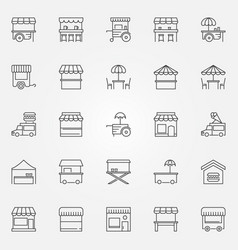 street food outline icons market stall vector image