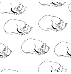 sweet kitten seamless monochrome pattern vector image