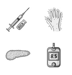 Syringe with insulin pancreas glucometer hand vector