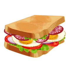 Toasted sandwich with green lettuce sliced vector