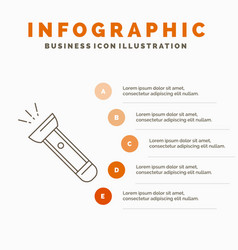 Torch light flash camping hiking infographics vector