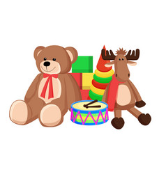toys set santa claus factory vector image
