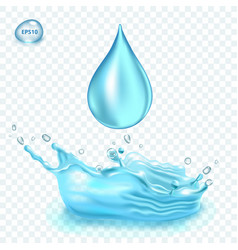 transparent water splash and water drop on vector image