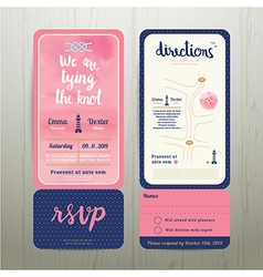 Tying the knot water colour wedding card template vector