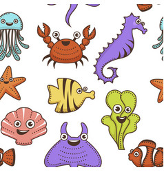 underwater animals and plant marine creatures vector image