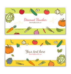 vegetables cute banner background template with vector image