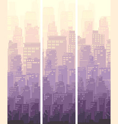 Vertical banner of big city and sun vector