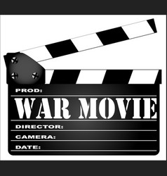 War movie clapperboard vector