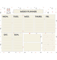 weekly planner page template design cute page for vector image