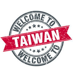 Welcome to taiwan red round vintage stamp vector