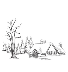 Winter background house and tree in the landscape vector