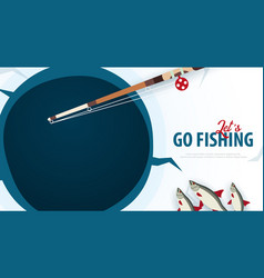 winter ice fishing on the lake banner with fish vector image