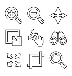 zoom icons set on white background line style vector image