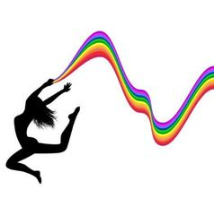 female silhouette in a jump holds a rainbow vector image