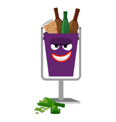 garbage monster face can with glass vector image